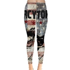 Motorcycle Old School Leggings  by Valentinaart