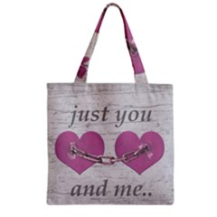 Shabby Chich Love Concept Poster Zipper Grocery Tote Bag by dflcprints