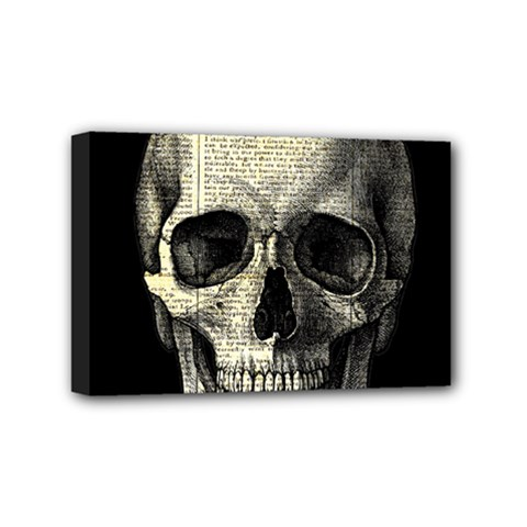 Newspaper Skull Mini Canvas 6  X 4  by Valentinaart