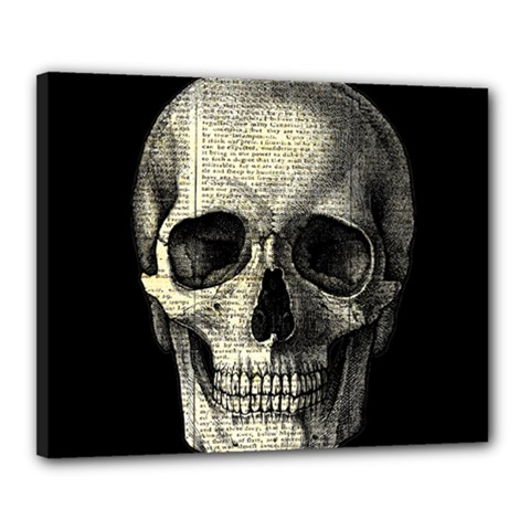 Newspaper Skull Canvas 20  X 16  by Valentinaart