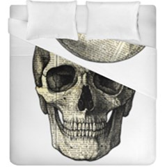 Newspaper Skull Duvet Cover Double Side (king Size) by Valentinaart