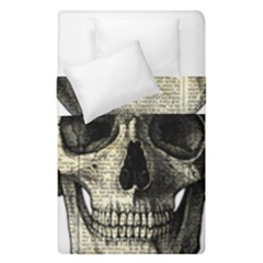 Newspaper Skull Duvet Cover Double Side (single Size) by Valentinaart