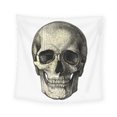 Newspaper Skull Square Tapestry (small) by Valentinaart