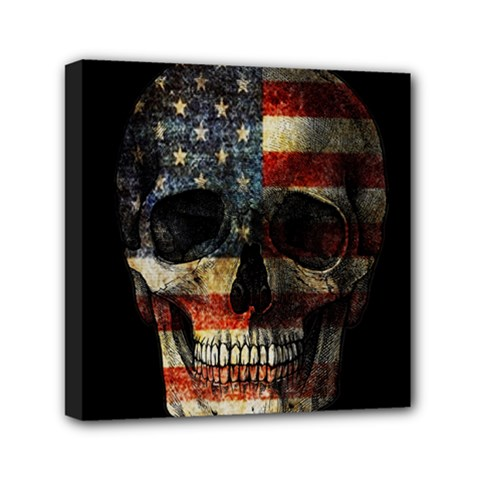 American Flag Skull Mini Canvas 6  X 6  by Valentinaart