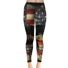 American Flag Skull Leggings  by Valentinaart