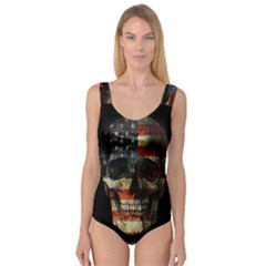 American Flag Skull Princess Tank Leotard  by Valentinaart