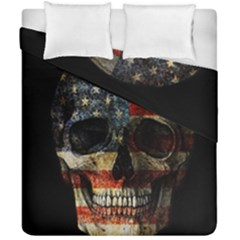 American Flag Skull Duvet Cover Double Side (california King Size) by Valentinaart