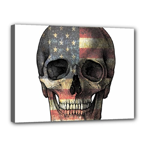 American Flag Skull Canvas 16  X 12  by Valentinaart