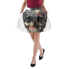 American Flag Skull A Line Pocket Skirt by Valentinaart
