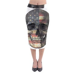 American Flag Skull Midi Pencil Skirt by Valentinaart
