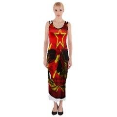 Russian Flag Skull Fitted Maxi Dress by Valentinaart