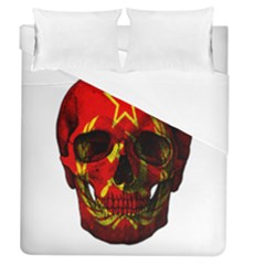 Russian Flag Skull Duvet Cover (queen Size) by Valentinaart