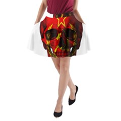 Russian Flag Skull A Line Pocket Skirt by Valentinaart