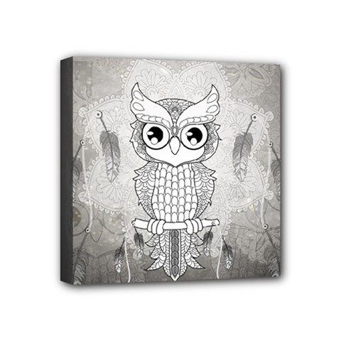 Wonderful Owl, Mandala Design Mini Canvas 4  X 4  by FantasyWorld7