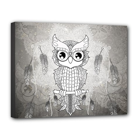 Wonderful Owl, Mandala Design Canvas 14  X 11  by FantasyWorld7