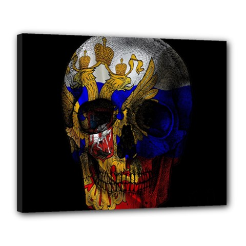 Russian Flag Skull Canvas 20  X 16  by Valentinaart