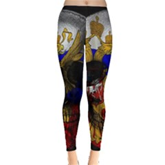 Russian Flag Skull Leggings  by Valentinaart