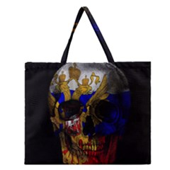Russian Flag Skull Zipper Large Tote Bag by Valentinaart