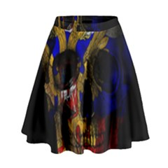 Russian Flag Skull High Waist Skirt by Valentinaart