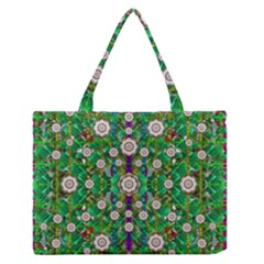 Pearl Flowers In The Glowing Forest Medium Zipper Tote Bag by pepitasart