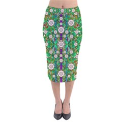 Pearl Flowers In The Glowing Forest Velvet Midi Pencil Skirt by pepitasart