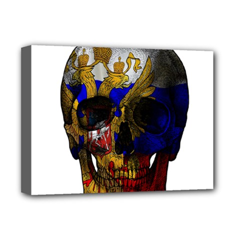 Russian Flag Skull Deluxe Canvas 16  X 12   by Valentinaart