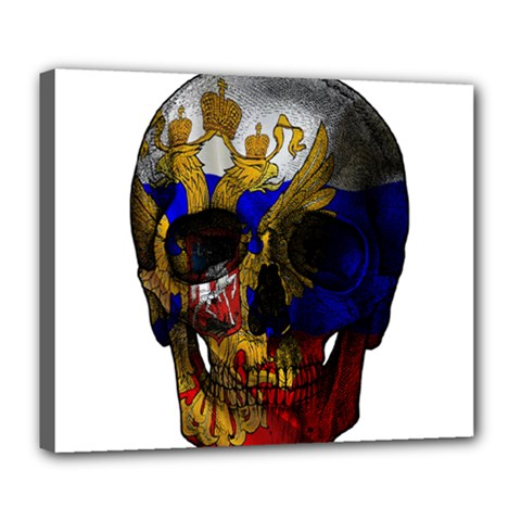 Russian Flag Skull Deluxe Canvas 24  X 20   by Valentinaart