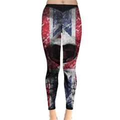 Uk Flag Skull Leggings  by Valentinaart