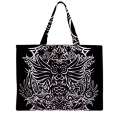 Tattoo Tribal Owl Zipper Mini Tote Bag by Valentinaart