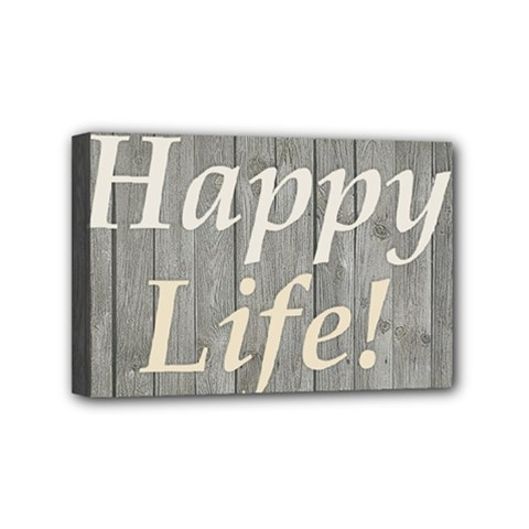 Happy Life Letters Shabby Style Poster Mini Canvas 6  X 4  by dflcprints