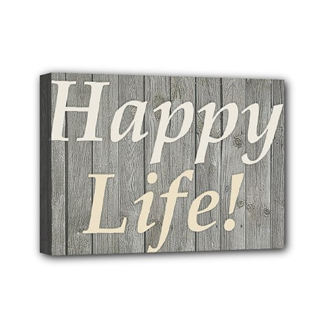 Happy Life Letters Shabby Style Poster Mini Canvas 7  X 5  by dflcprints