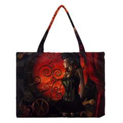 Steampunk, Wonderful Steampunk Lady In The Night Medium Tote Bag by FantasyWorld7
