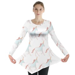 Unicorn Pattern Long Sleeve Tunic  by paulaoliveiradesign