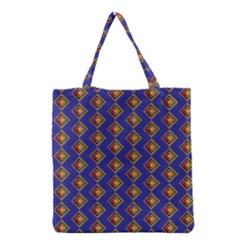 Blue Geometric Losangle Pattern Grocery Tote Bag