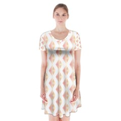 Geometric Losangle Pattern Rosy Short Sleeve V Neck Flare Dress