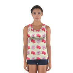 Yellow Floral Roses Pattern Sport Tank Top