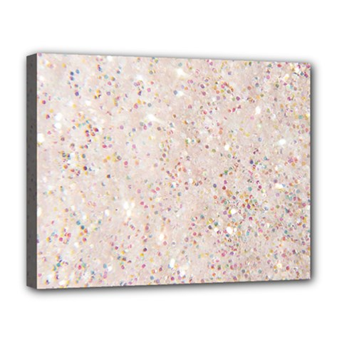 White Sparkle Glitter Pattern Canvas 14  X 11  by paulaoliveiradesign