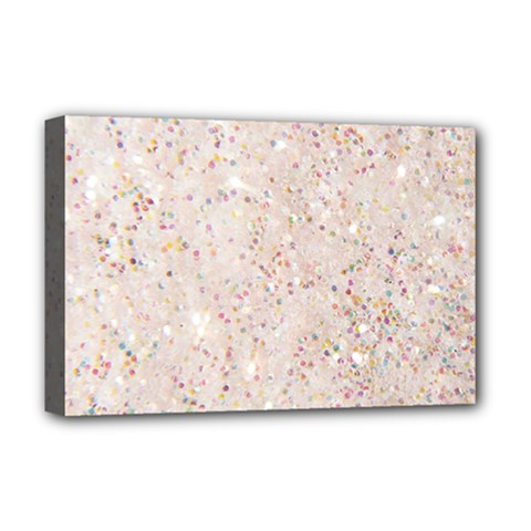 White Sparkle Glitter Pattern Deluxe Canvas 18  X 12   by paulaoliveiradesign