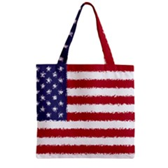 Flag Of The United States America Zipper Grocery Tote Bag by paulaoliveiradesign