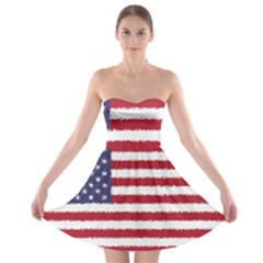 Flag Of The United States America Strapless Bra Top Dress by paulaoliveiradesign
