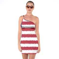 Flag Of The United States America One Soulder Bodycon Dress by paulaoliveiradesign