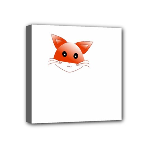 Animal Image Fox Mini Canvas 4  X 4  by BangZart
