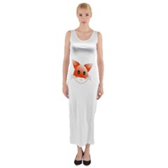 Animal Image Fox Fitted Maxi Dress