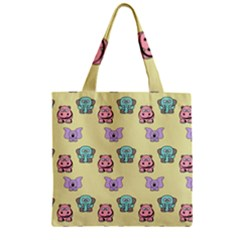Animals Pastel Children Colorful Zipper Grocery Tote Bag by BangZart