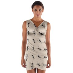 Ants Pattern Wrap Front Bodycon Dress