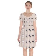 Ants Pattern Short Sleeve Bardot Dress
