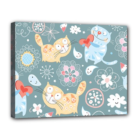 Cute Cat Background Pattern Canvas 14  X 11  by BangZart