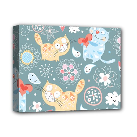 Cute Cat Background Pattern Deluxe Canvas 14  X 11  by BangZart