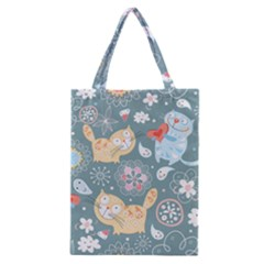 Cute Cat Background Pattern Classic Tote Bag