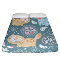 Cute Cat Background Pattern Fitted Sheet (queen Size) by BangZart
